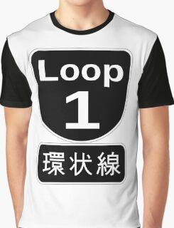 Osaka loop road sign -Black ver. Graphic T-Shirt