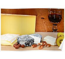French cheese and red wine Poster