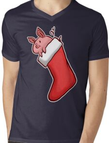 Holiday Christmas Stocking Piglet  Mens V-Neck T-Shirt