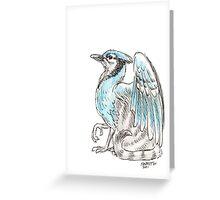 Mythological House Griffin: Blue Jay Variety Greeting Card