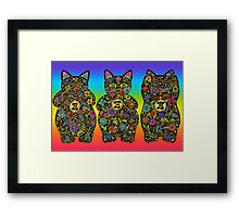 Three Wise Lucky Black Cats  Framed Print
