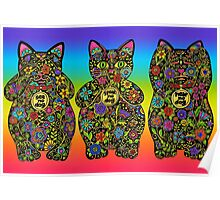 Three Wise Lucky Black Cats  Poster