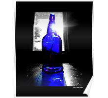 Sun Rays Behind Cobalt Blue Glass Bottle  Poster