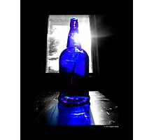 Sun Rays Behind Cobalt Blue Glass Bottle  Photographic Print