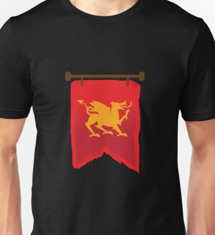 Gold rampant dragon on a field of RED banner Unisex T-Shirt