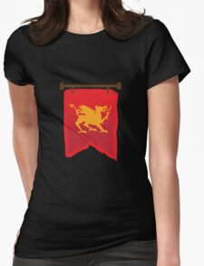 Gold rampant dragon on a field of RED banner Womens Fitted T-Shirt