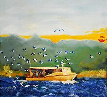 Bait Fishers around a Crabber by Phyllis Dixon
