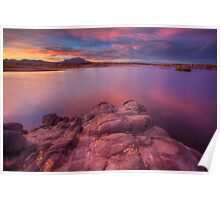 Willow Lake Pink Blue Poster