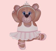 Cute Cartoon Teddy Bear Ballerina One Piece - Short Sleeve