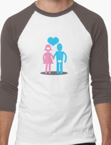 Couple Woman thinking with her head Man thins with his ... Men's Baseball ¾ T-Shirt