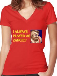 Street Fighter 2 Memories ZANGIEF Women's Fitted V-Neck T-Shirt