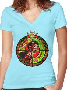 Zombie Apocalypse Survivor Type (Big Pic) Women's Fitted V-Neck T-Shirt