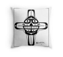 Smiling Sun black Throw Pillow