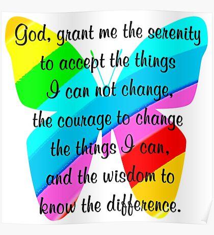 BEAUTIFUL BUTTERFLY SERENITY PRAYER Poster