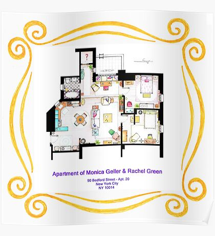 """Apartment of Monica and Rachel from """"FRIENDS"""" Poster"""
