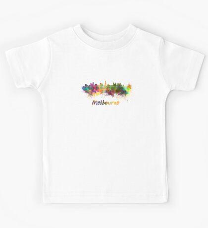 Melbourne skyline in watercolor Kids Tee