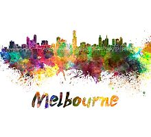 Melbourne skyline in watercolor by paulrommer