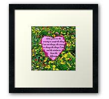 YELLOW WILDFLOWER SERENITY PRAYER Framed Print