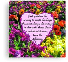 PURPLE WILD FLOWER SERENITY PRAYER PHOTO Canvas Print