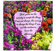 PURPLE WILD FLOWER SERENITY PRAYER PHOTO Poster