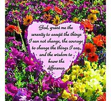 PURPLE WILD FLOWER SERENITY PRAYER PHOTO Photographic Print