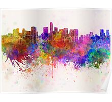 Mexico City skyline in watercolor background Poster