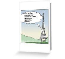 la tour eiffel en dessin comique satire Greeting Card