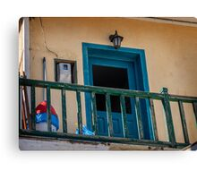 Typical Greek local apartment  Mandraki town Nisyros Island  Aegean Sea Canvas Print