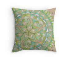 Green Flower Mandala Throw Pillow