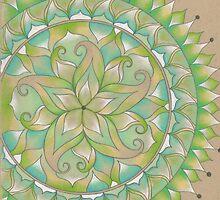 Green Flower Mandala by perilunearts