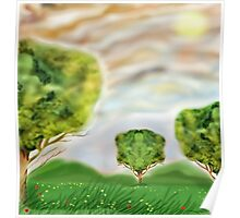 Three crazily similar Trees in a Meadow Poster