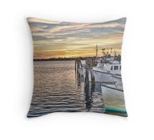 Sunset at the Fishing Port Throw Pillow