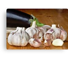 Fresh garlic on wood Canvas Print