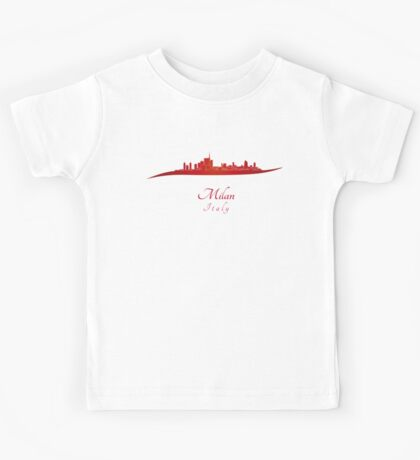 Milan skyline in red Kids Tee