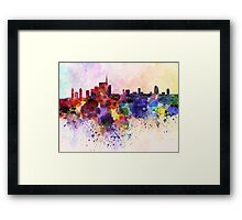 Milan skyline in watercolor background Framed Print