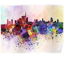 Milan skyline in watercolor background Poster