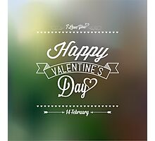 Happy Valentine's Day Hand Lettering - Typographical Background Photographic Print