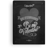 Happy Valentine's Day Hand Lettering - Typographical Background On Blackboard Canvas Print