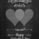 Happy Valentine's Day Hand Lettering - Typographical Background On Blackboard by csecsi