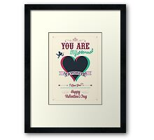 Happy Valentine's Day Hand Lettering - Typographical Background Framed Print