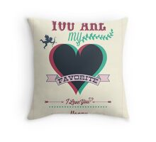 Happy Valentine's Day Hand Lettering - Typographical Background Throw Pillow
