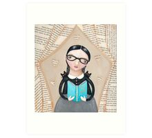 The Reader Girl with Cats Art Print