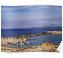Typical Greek local greek harbour Nisyros Island  Aegean Sea Poster