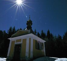 Midnight moon at the Chapel of St Antonin by dalekenworthy