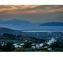 Sunset from Zia Kos to the  Aegean Sea Photographic Print