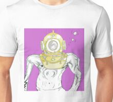 deep sea diver hemet with man in swimsuit comic Unisex T-Shirt