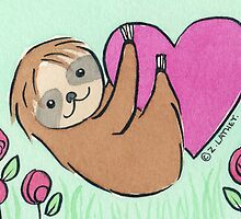 Baby Sloth Valentine - watercolor by zoel