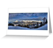 Snowy Mountains all around Greeting Card