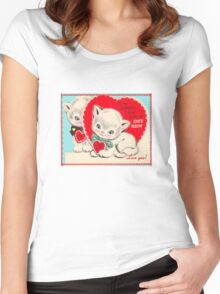 cute kitten vintage be my valentine tee  Women's Fitted Scoop T-Shirt