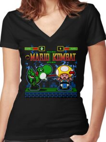 Mario Kombat II Women's Fitted V-Neck T-Shirt